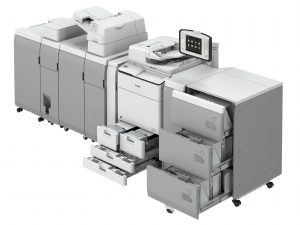 Canon imageRUNNER ADVANCE C7500 II-serie full option trays open
